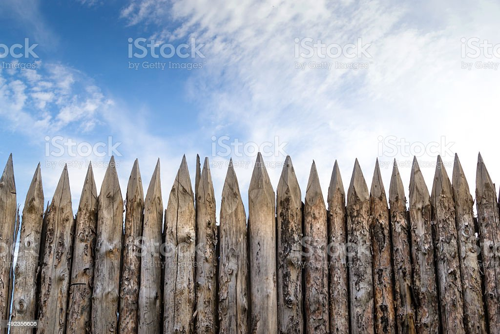 wooden palisades stock photo