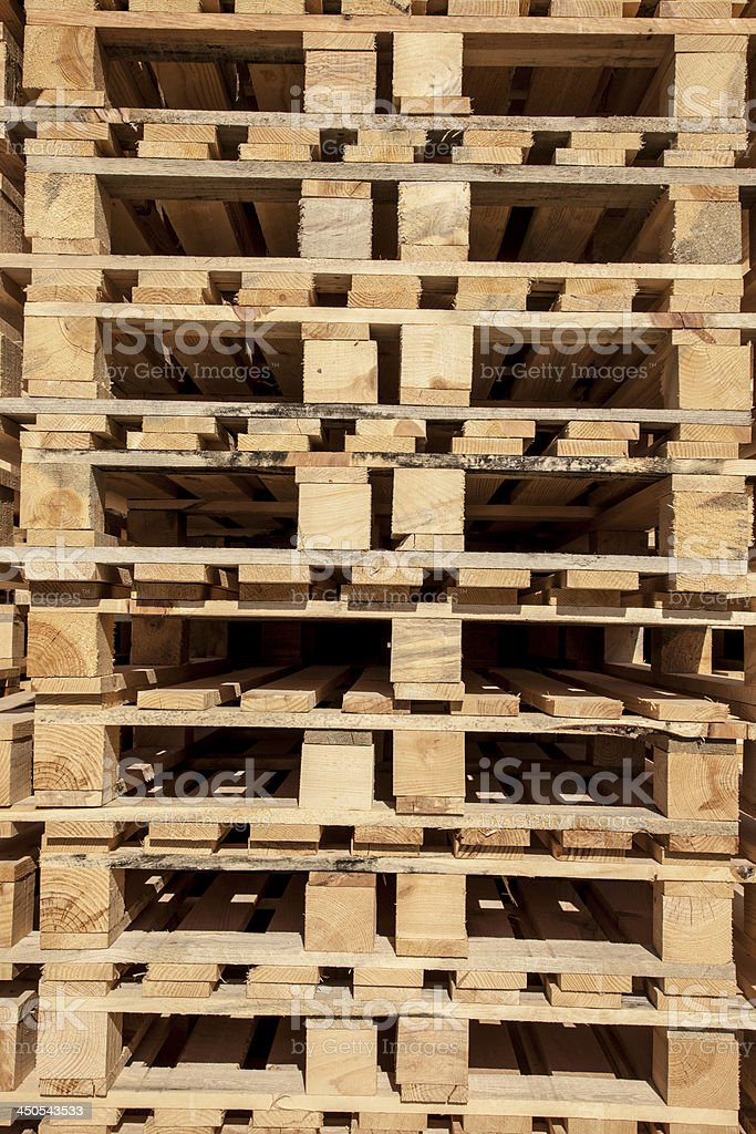 Wooden pallet in under sunlight royalty-free stock photo