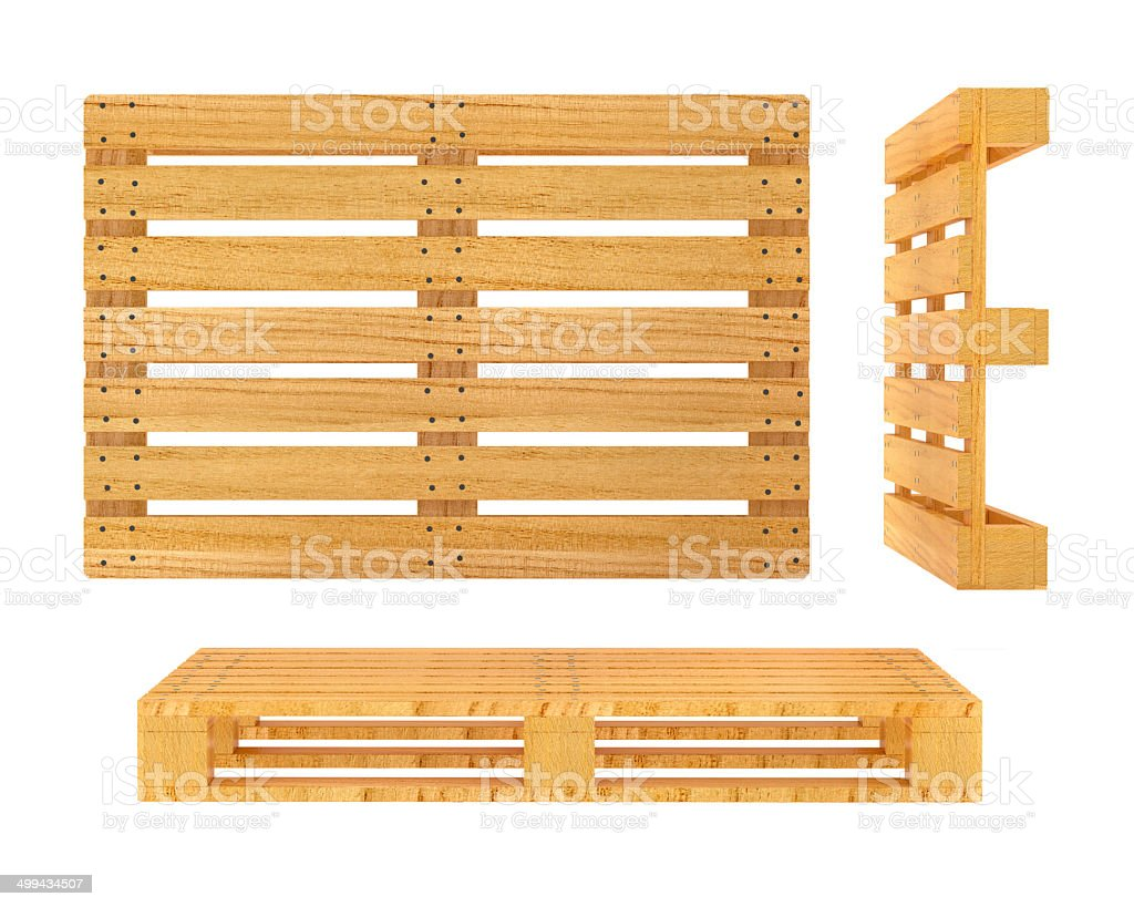 Wooden pallet isolated on white background stock photo