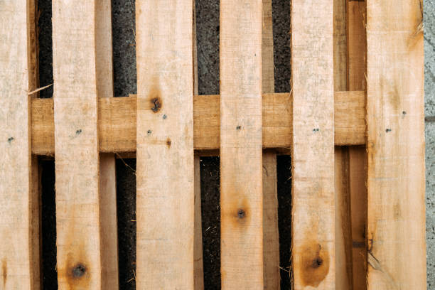 Wooden pallet lying in the street stock photo