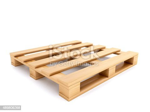Wooden pallet. Digitally Generated Image isolated on white background