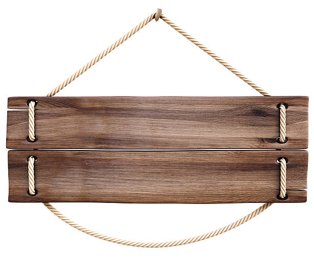 Wooden pallet sign with rope threaded through for hanging stock photo