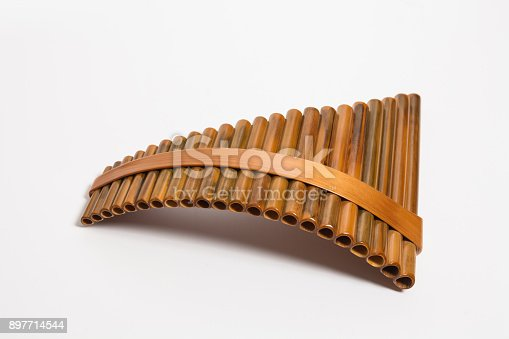 Wooden Pan Flute Isolated on white