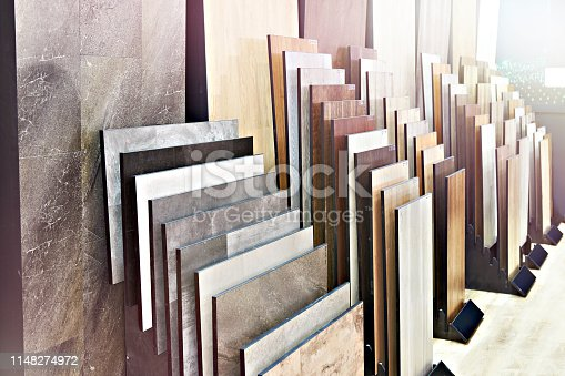 Decorative wooden panels on the floor and walls in the store
