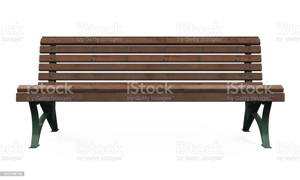 Wooden Park Bench Isolated stock photo