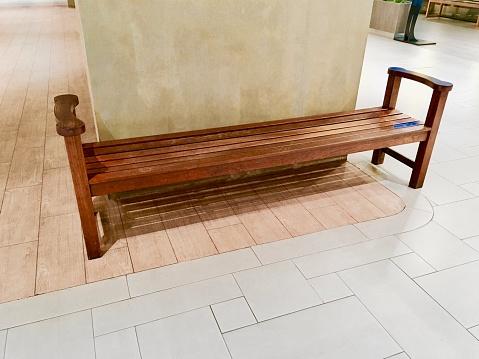 Groovy Wooden Park Bench On Brown Ceramic Tile Floor Stock Photo Spiritservingveterans Wood Chair Design Ideas Spiritservingveteransorg
