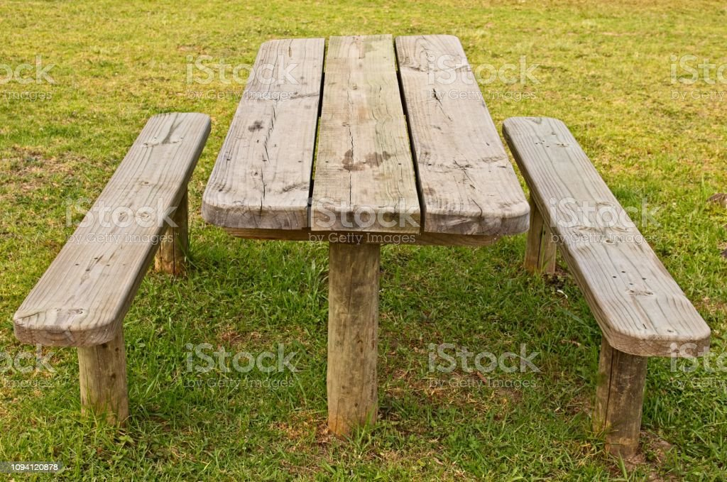 Outstanding A Wooden Park Bench Outdoor Eating Or Picnic Concept Image Beatyapartments Chair Design Images Beatyapartmentscom
