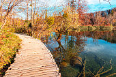 Wooden path on Plitvice lakes National park, Croatia.