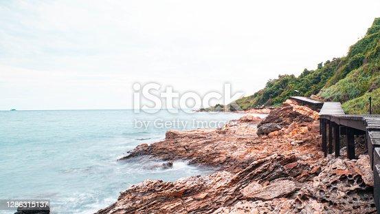 Wooden Path on the Mountain with the beautiful sea view. Khao Leam Ya - Mu Ko Samet Nation Park Rayong Thailand