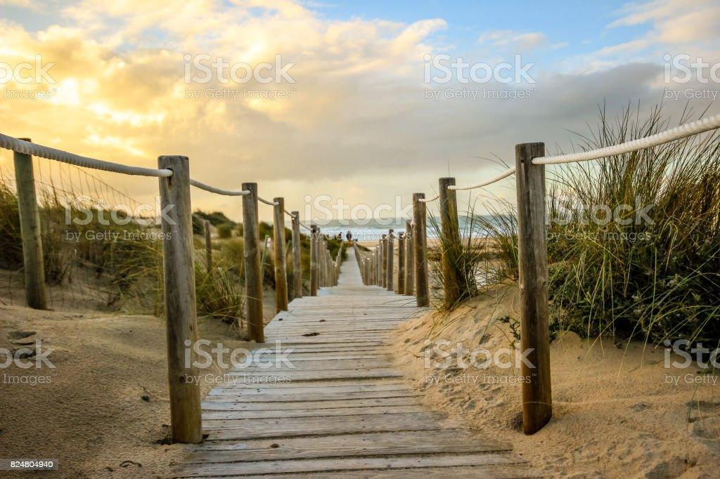 Wooden path to the beach on the dunes at the sunset stock photo