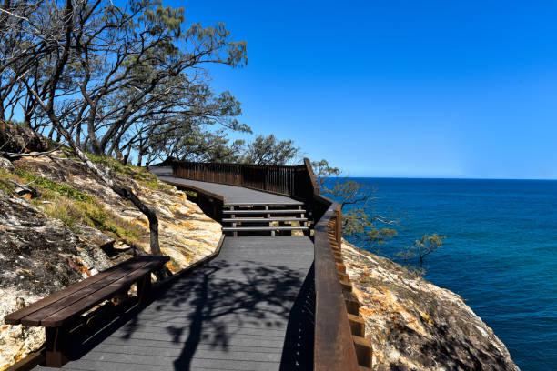 Wooden pathway with ocean view in Australia stock photo