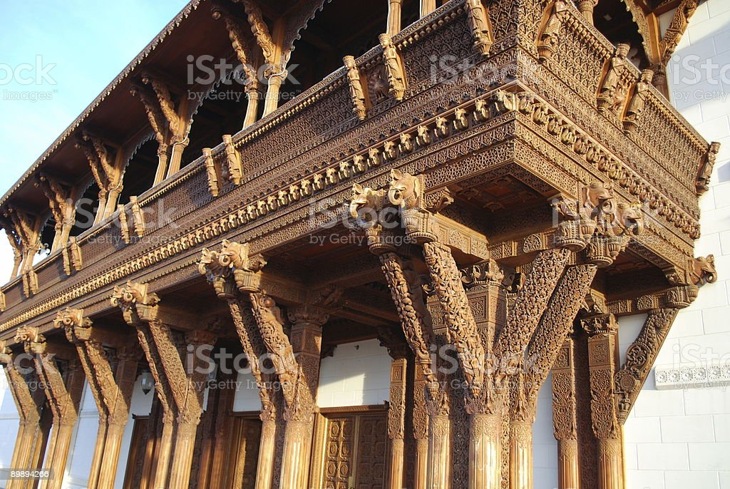 Wooden Patio with amazing carving royalty-free stock photo