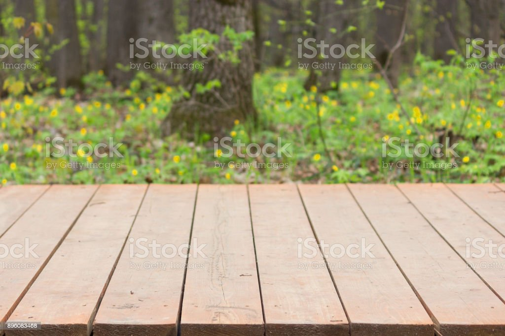 wooden pavement in a park stock photo