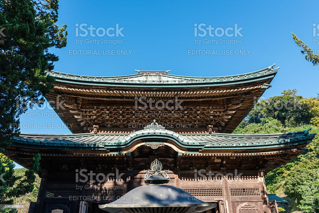 Wooden pavilion in Kencho-ji temple in Kamakura Lizenzfreies stock-foto