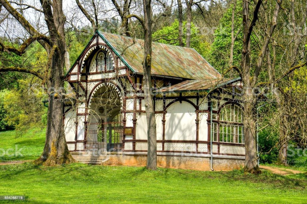 Wooden pavilion of mineral water spring - Marianske Lazne (Marienbad) stock photo