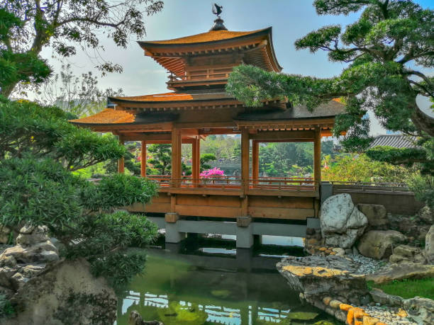 a wooden pavilion on the blue pond, nan lian garden, hong kong - lian empty imagens e fotografias de stock