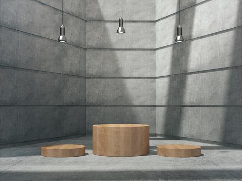 Wooden pedestal for display,Platform for design,Blank product stand with lamp light spot .3D rendering.