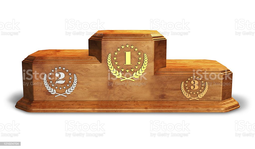 Wooden pedestal for trophies stock photo