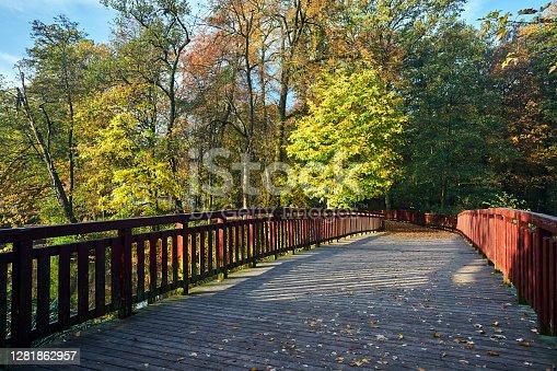 Wooden pedestrian bridge in the park during autumn in Poznan