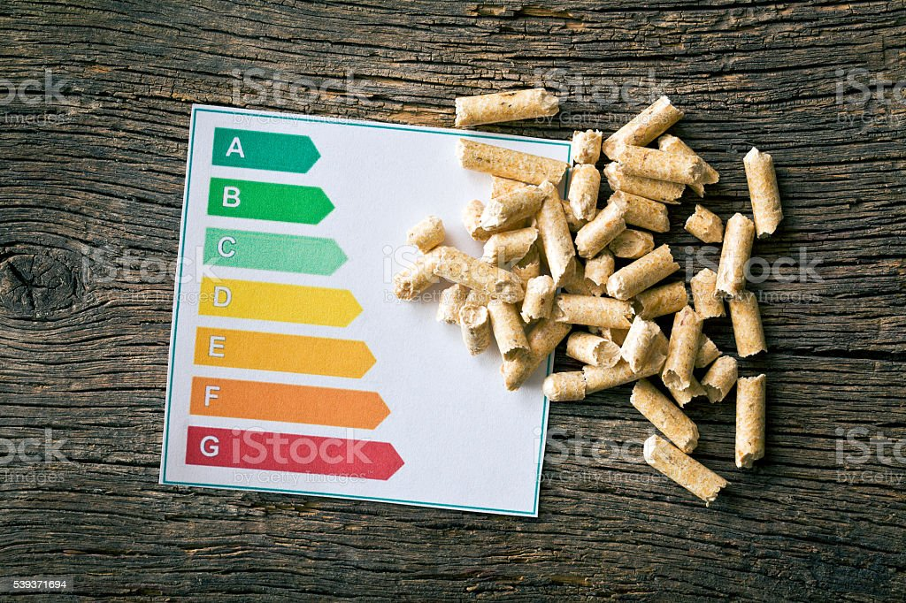 wooden pellets and energy efficiency levels stock photo