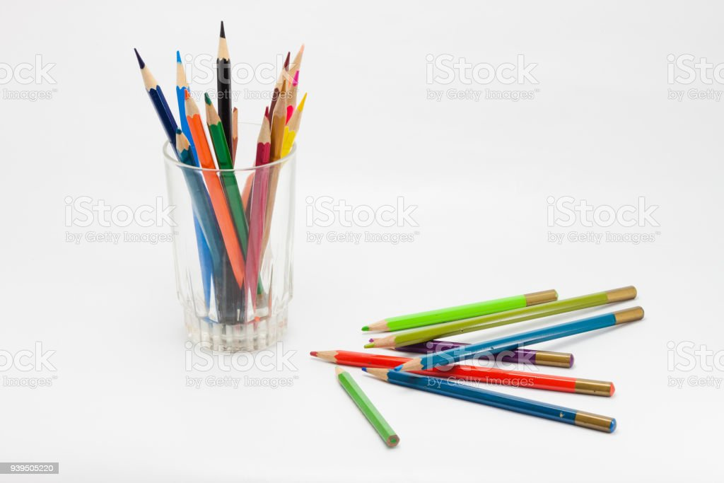 Wooden pencil is in the glass. stock photo
