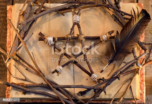811119304 istock photo Wooden pentagram, open book and black feather quill, top view 868331072