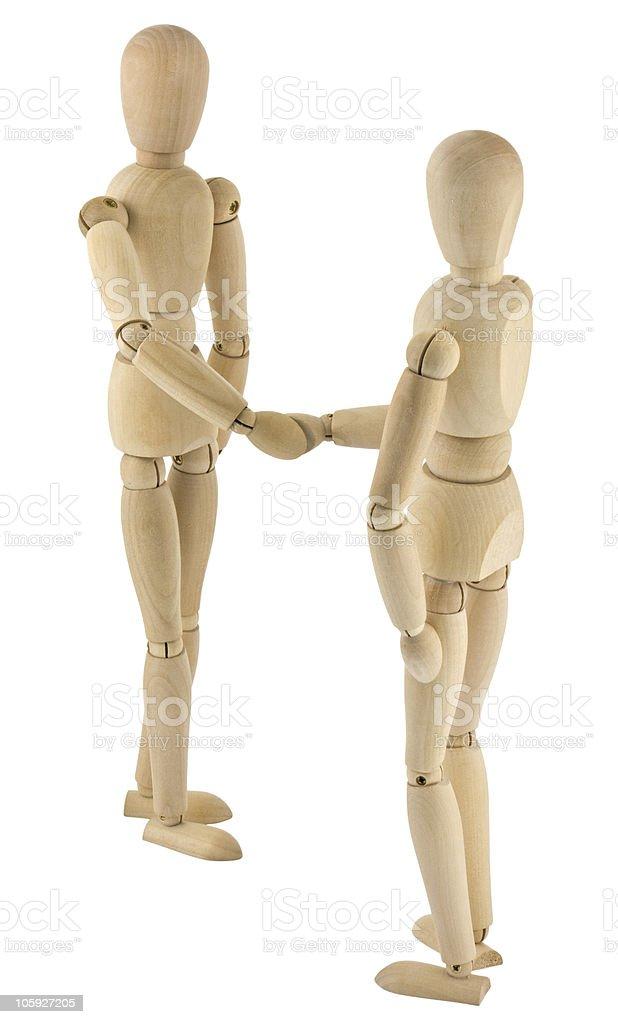 wooden people handshake on white background royalty-free stock photo