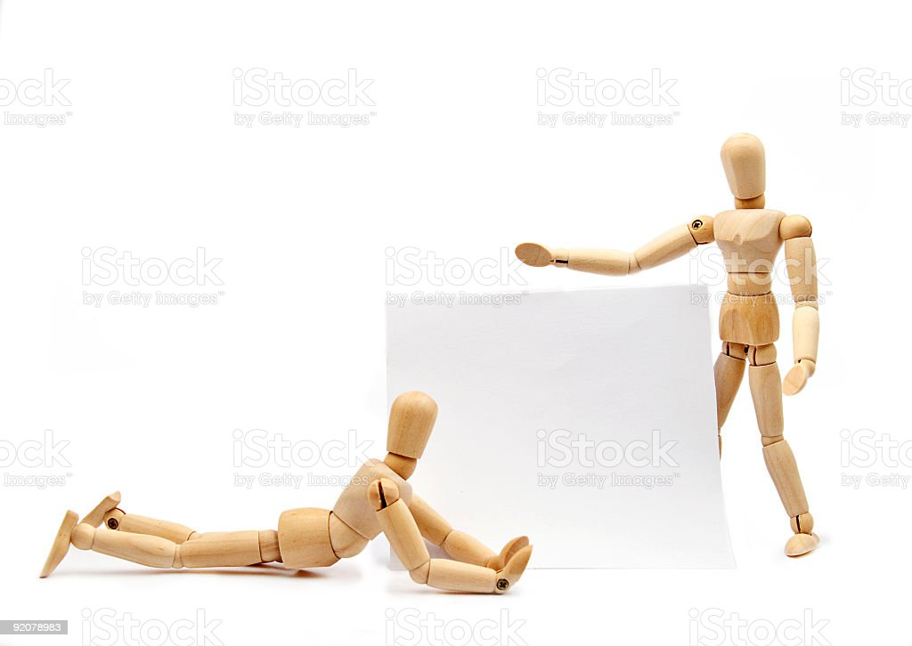 Wooden people with a message royalty-free stock photo