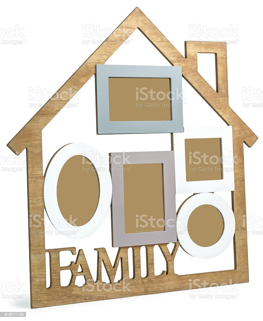 Wooden photo frame House with text Family stock photo