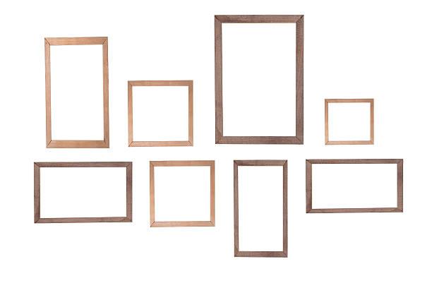 cornice di legno isolato su sfondo bianco - intelaiatura foto e immagini stock