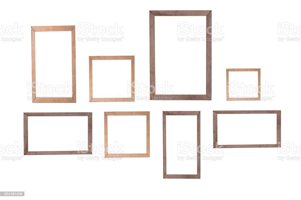 wooden photo frame isolated white background stock photo