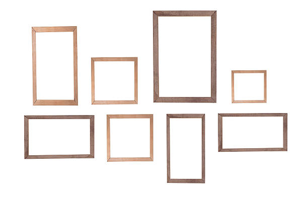 wooden photo frame isolated white background - construction frame stock photos and pictures