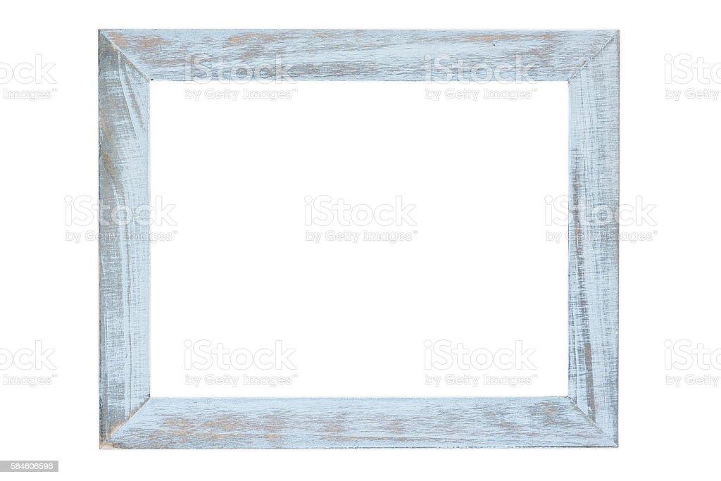 Wooden photo frame on white background stock photo