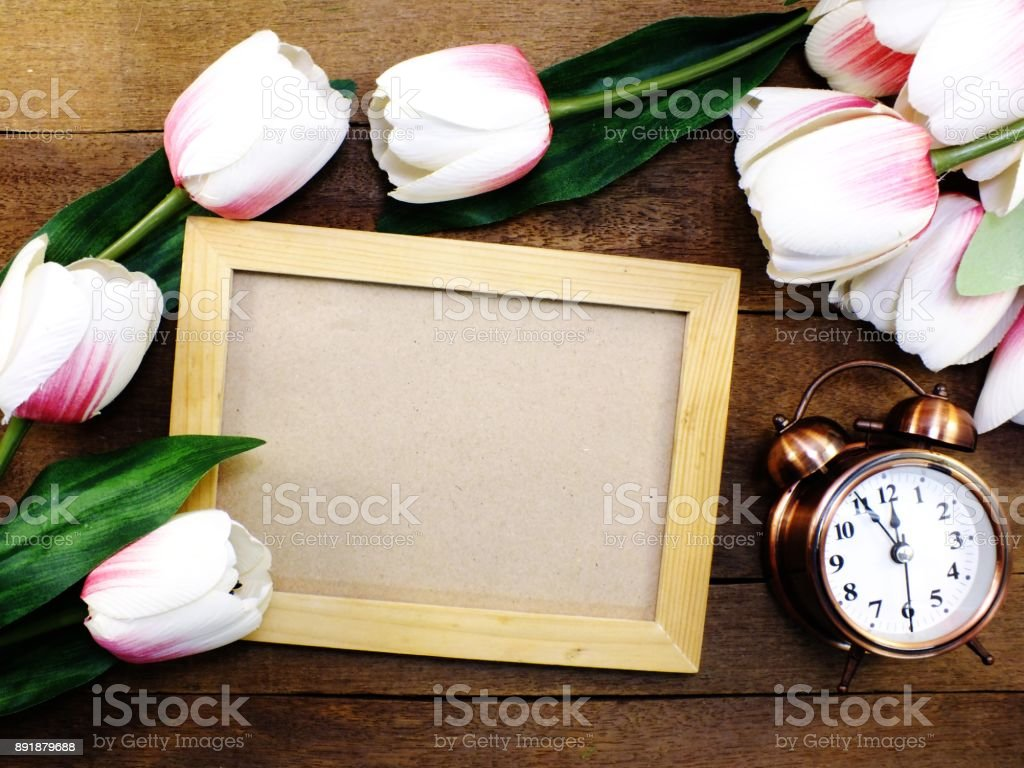 Wooden Photo Frames Space Background Decorate With Artificial Tulip ...