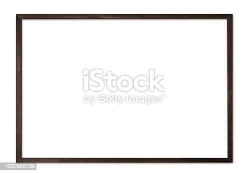 Thin wooden picture frame for modern wall isolated on white background