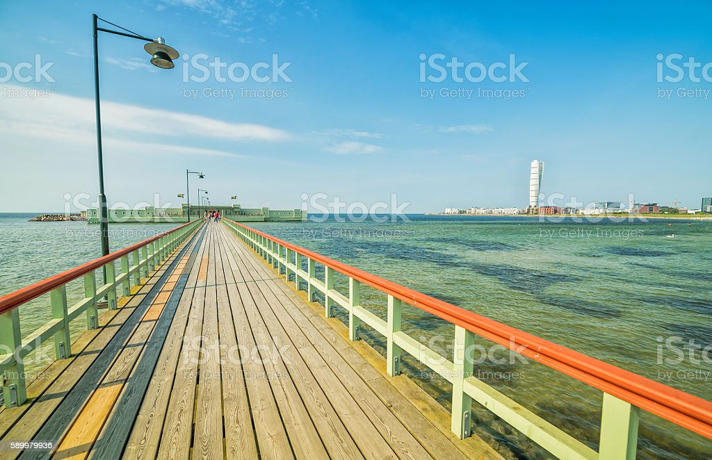 Wooden pier and bathhouse in Malmo stock photo