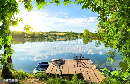 1094918172istockphoto Wooden pier and pond 1189754845
