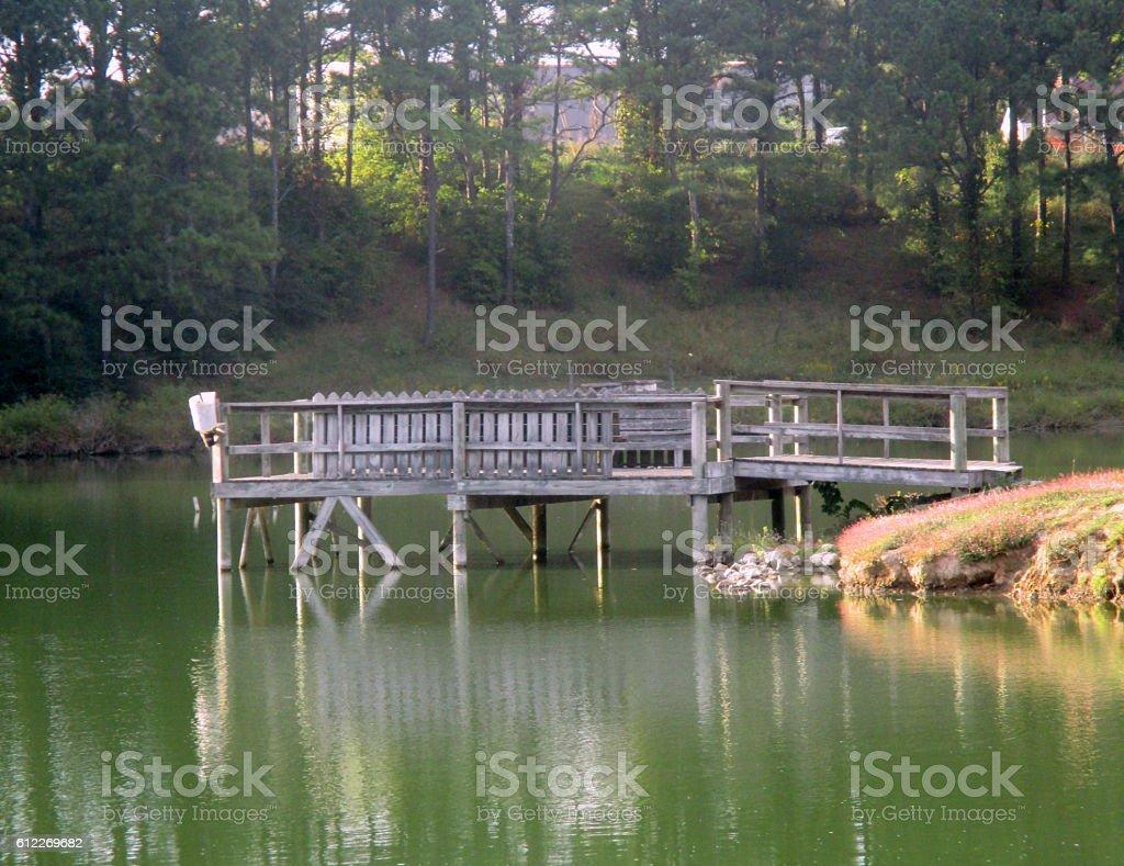 Wooden Pier at Lake stock photo