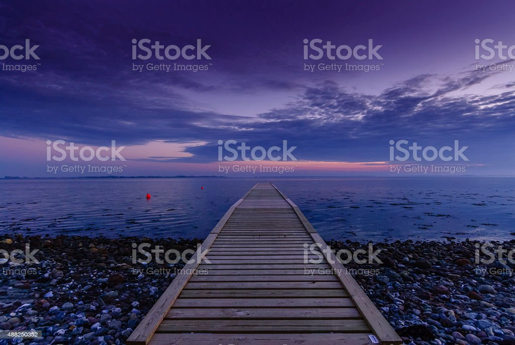 Wooden Pier in Blue Hour stock photo