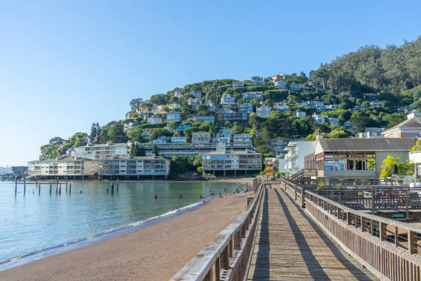 wooden pier of Sausalito ,San Francisco,CA stock photo