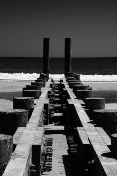 Wooden Pier on Atlantic City Beach, New Jersey stock photo
