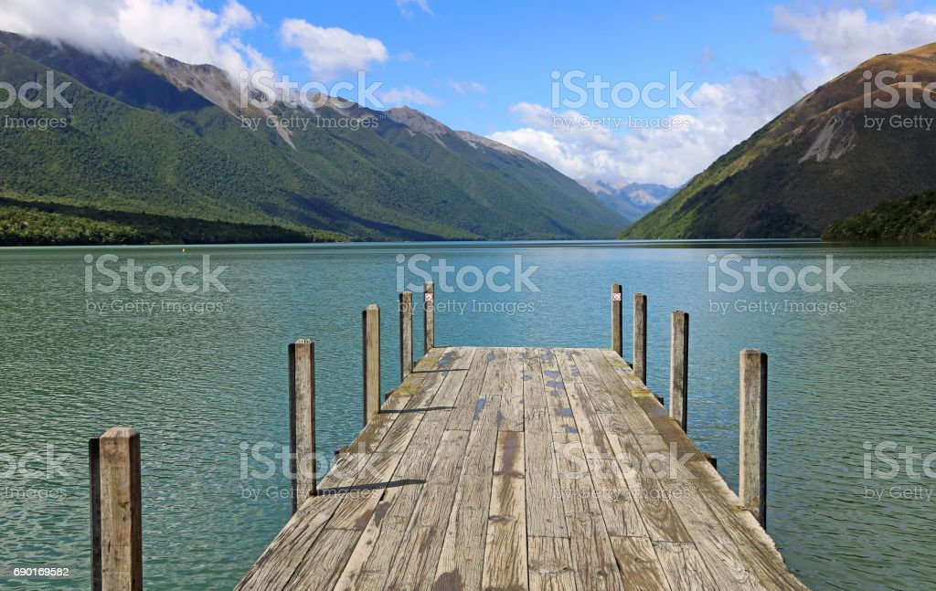 Wooden pier on Rotoiti Lake stock photo