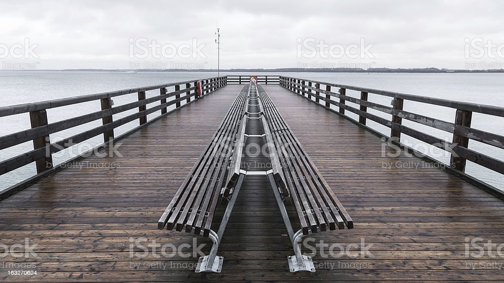 Wooden pier on the Baltic Sea stock photo