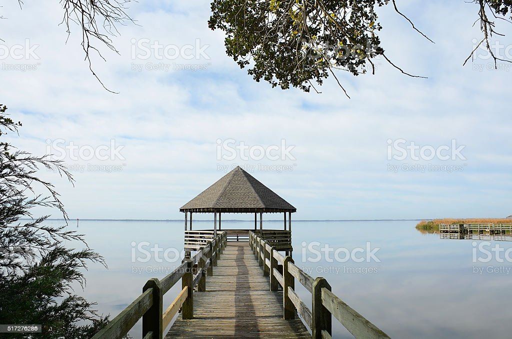 Wooden pier or jetty on Outer Banks lake. stock photo