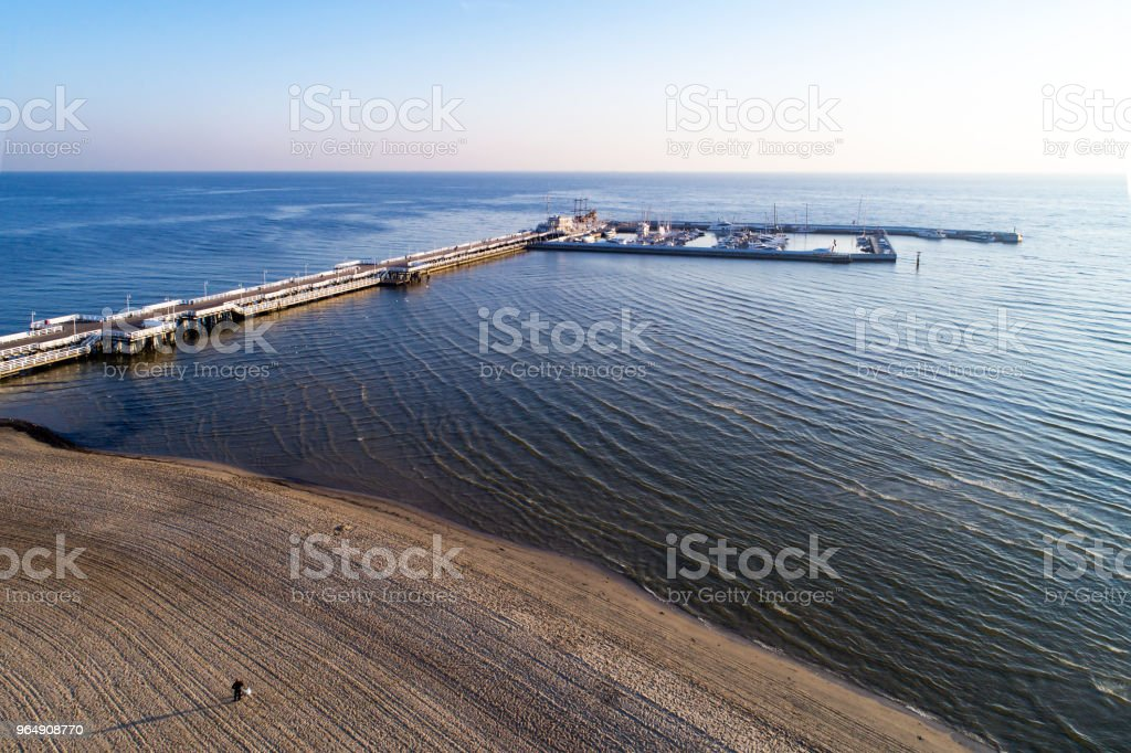 Wooden pier with marina in Sopot resort, Poland. Aerial view royalty-free stock photo