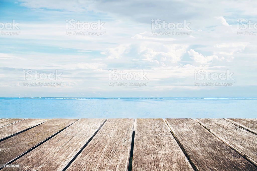 Wooden pier with sea view from the island stock photo