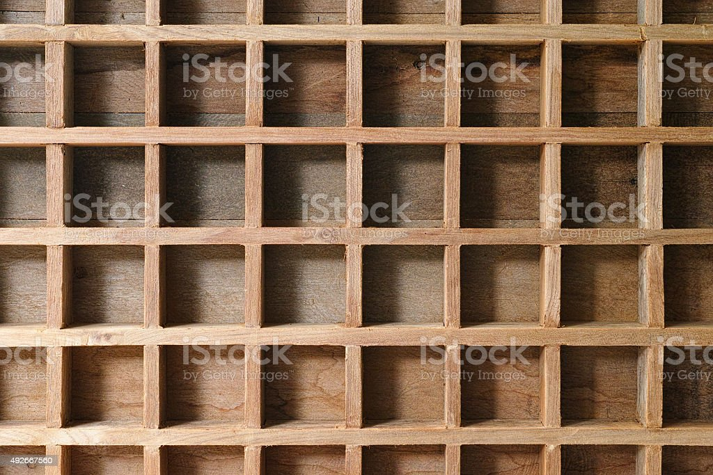 Wooden pigeon hole background. stock photo
