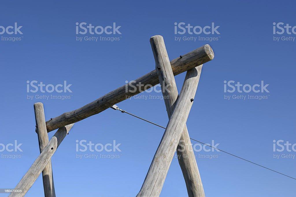 Wooden pillars for aerial runway stock photo