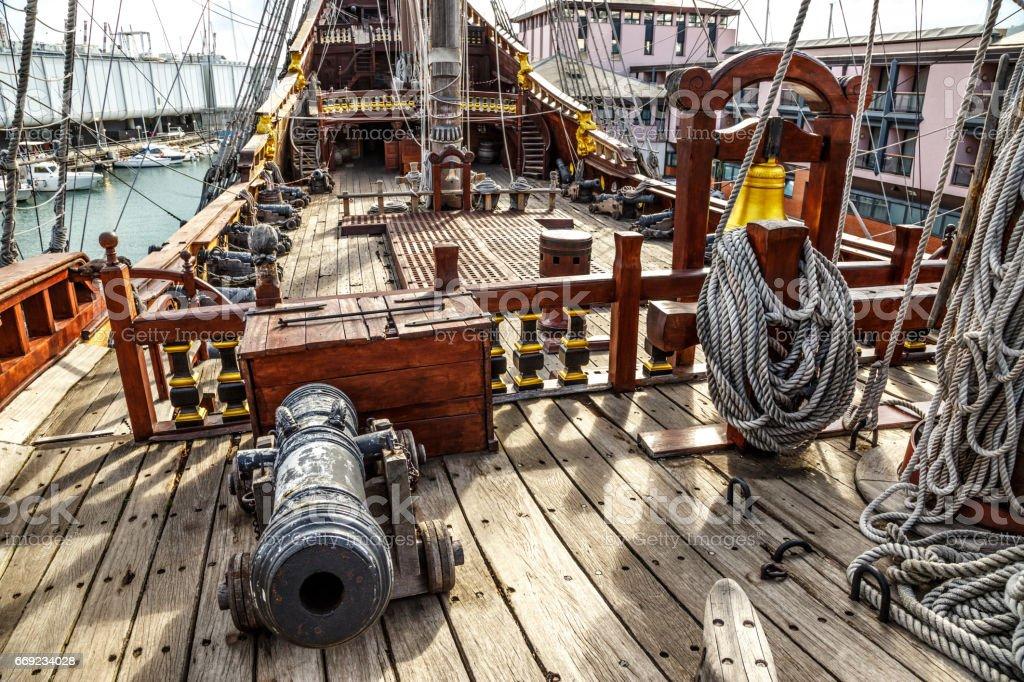 Wooden pirate ship in Genova port stock photo