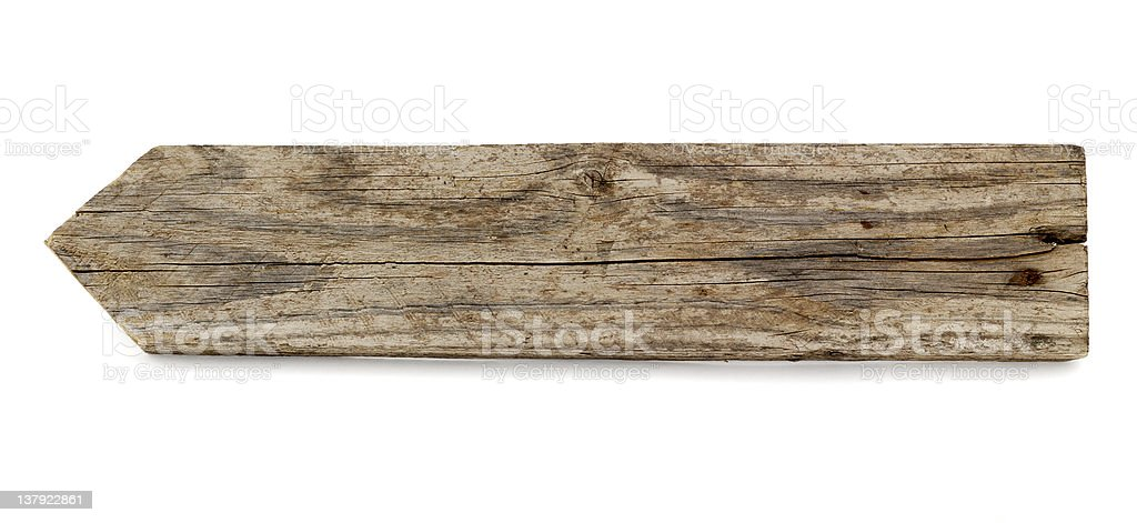 A wooden plain arrow pointing sign royalty-free stock photo